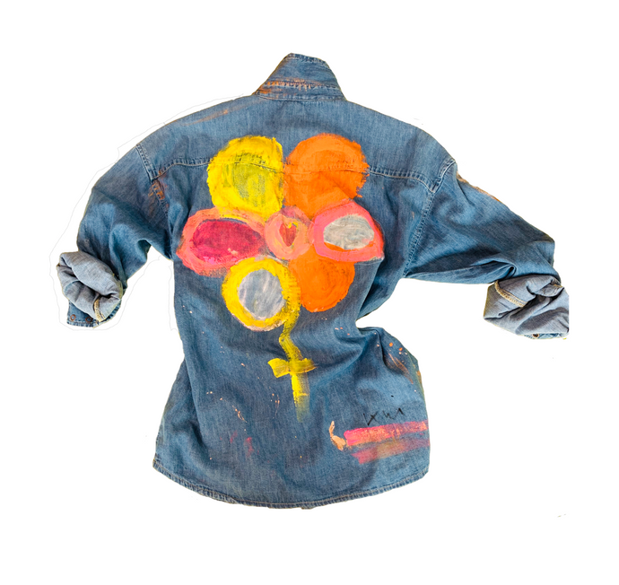 Your Flower  Denim Shirt, hand painted wearable