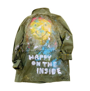 Happy On The Inside Handpainted Army Jacket