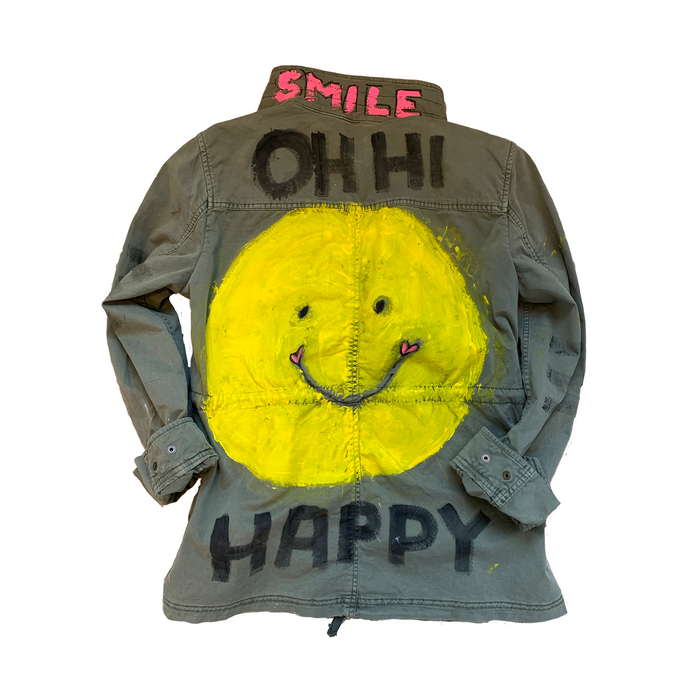 Smile Happy Hand Painted Army Jacket