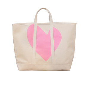 KR Beach Canvas Tote - Bubble Pink Imperfect Heart