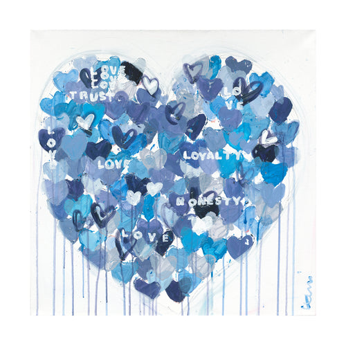 Too True To Be Blue Drippy Heart Art Print