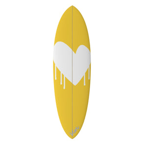 Drippy Heart Yellow Surfboard