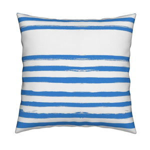 Stripe on Stripe Cornflower Pillow