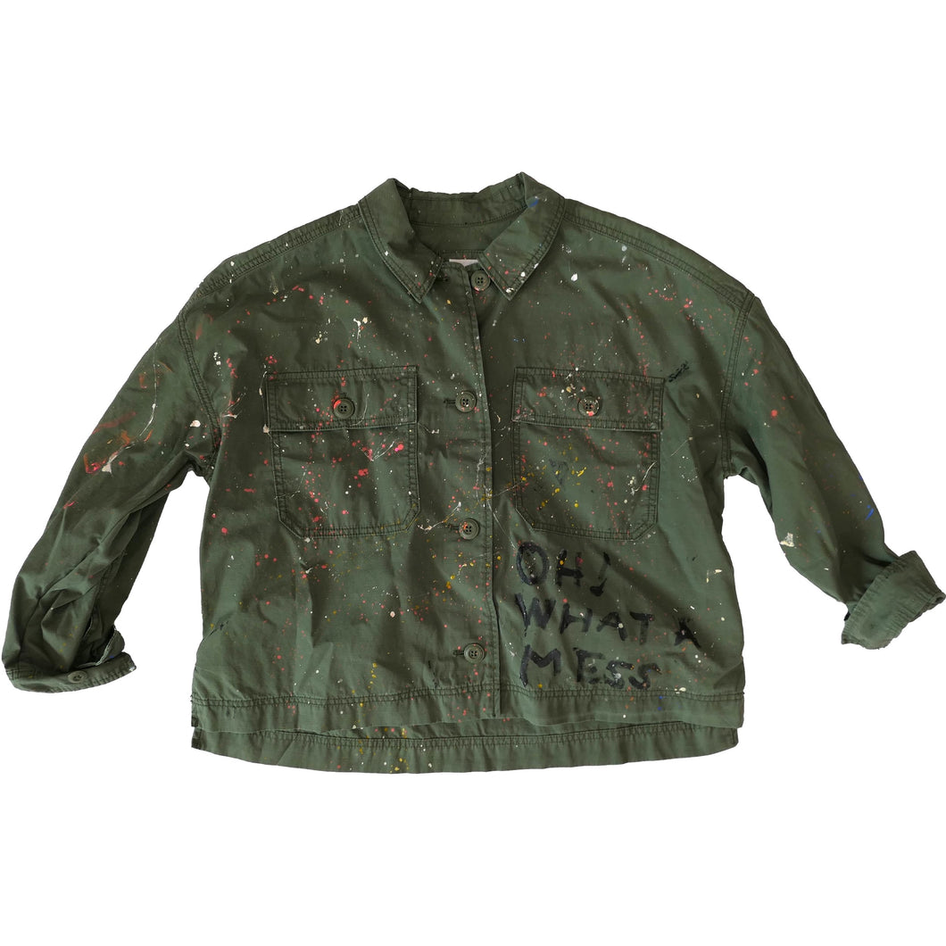 Oh What A Mess Handpainted Cropped Army Jacket