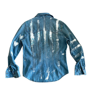 Hearts + Stripes Handpainted Denim Shirt