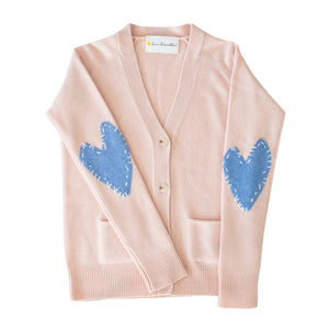Willy Patchwork Cashmere Cardigan - Blush + Denim