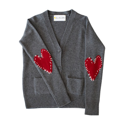 Willy Patchwork Cashmere Cardigan - Charcoal + Burgundy