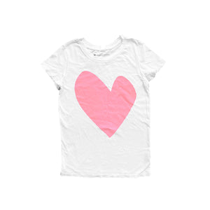 Imperfect Heart White Tee - Bubble Pink