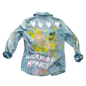 Custom Work of Heart Handpainted Denim Shirt