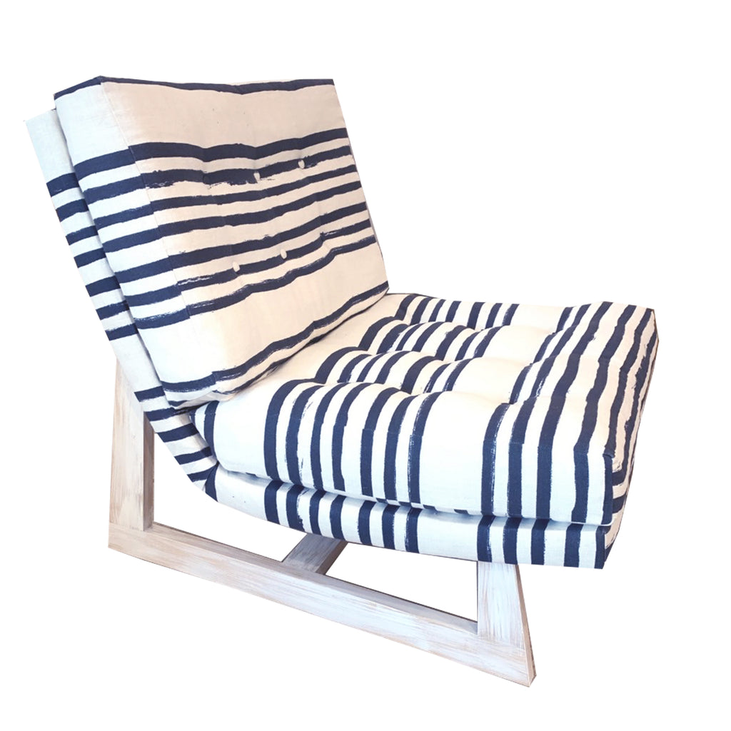 Romeo Chair in Stripe On Stripe linen