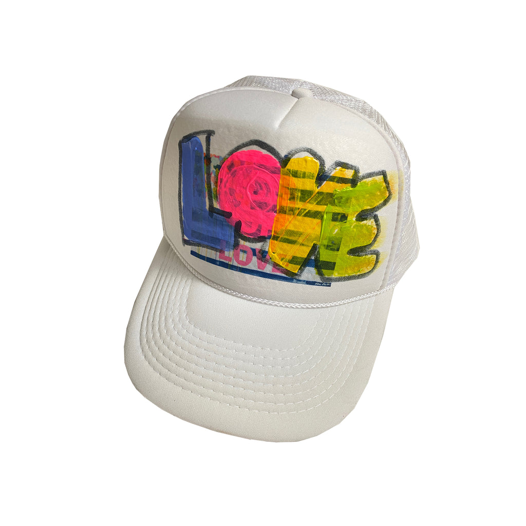 United Love White Handpainted Trucker Hat