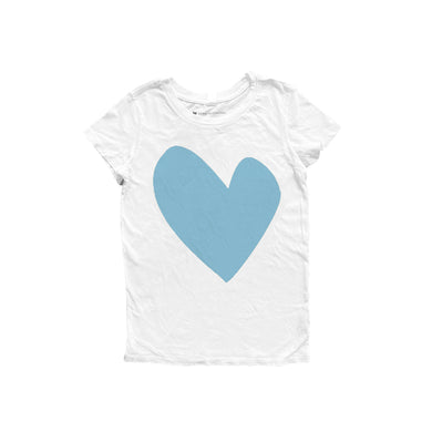 Imperfect Heart White Tee - True Blue