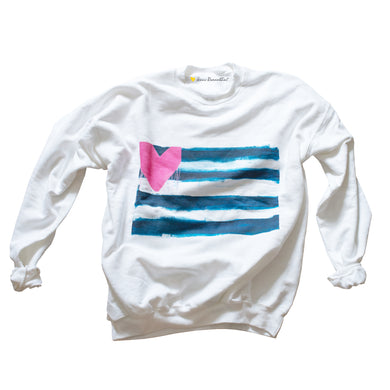 Hearts & Stripes Forever White Sweatshirt