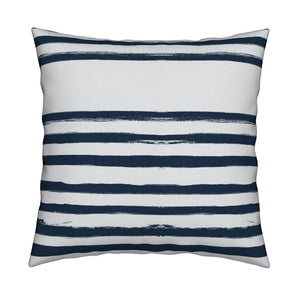 Stripe On Stripe Indigo Pillow