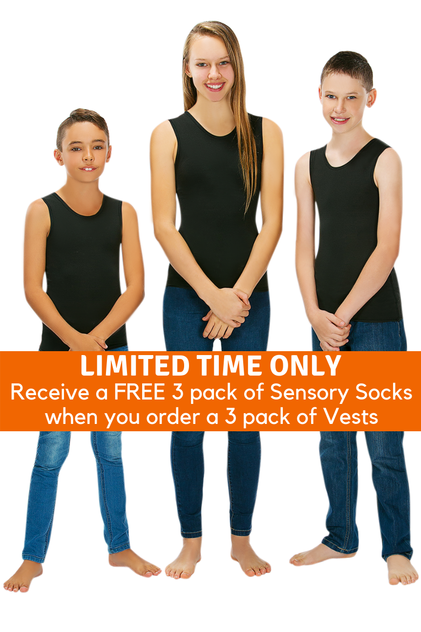 3 Pack Of CalmWear Sensory Vests | Child - SAVE OVER $40 - PLUS 3 FREE SOCKS