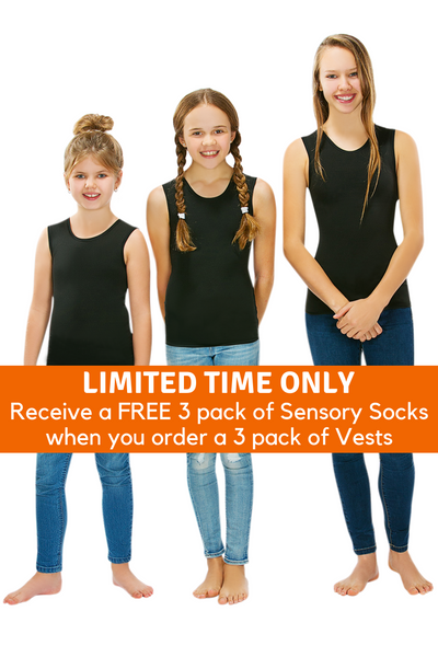3 Pack Of CalmWear Therapy Vests | Girls - SAVE OVER $40 - PLUS 3 FREE SOCKS