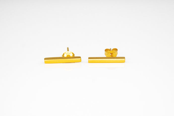 Gold Plated Bar Post Earrings