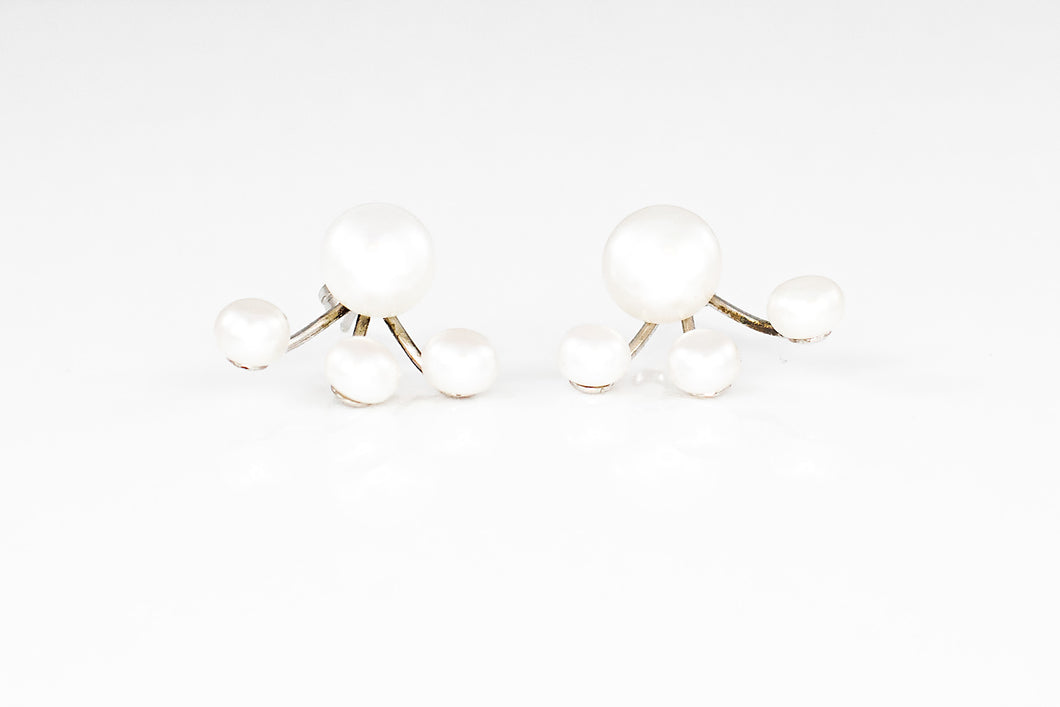 4-Pearl Lobe Wrap Earrings