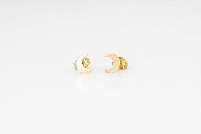 14K Gold Crescent Moon Studs