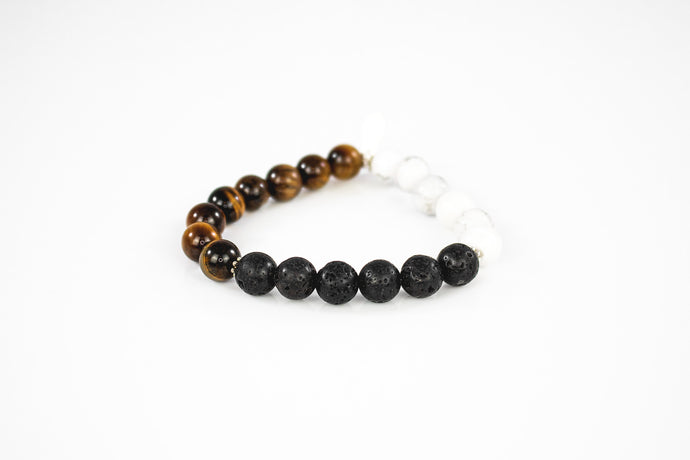 Tiger's Eye, Howlite & Black Lava Bracelet