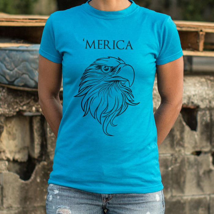 Ladies Merica Eagle Patriotic American T-Shirt - Patriotic Faith