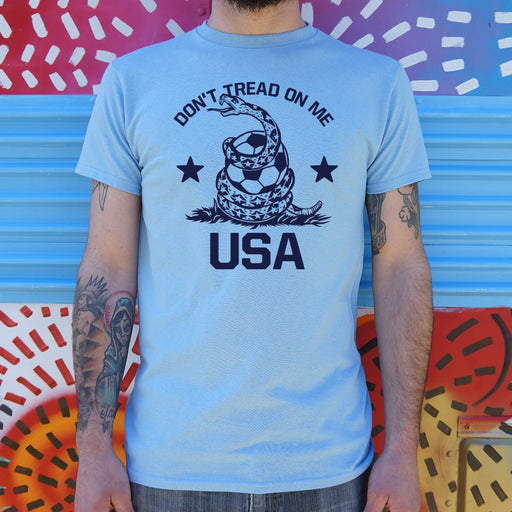 Mens Don't Tread On Me USA Soccer Snake T-Shirt - Patriotic Faith