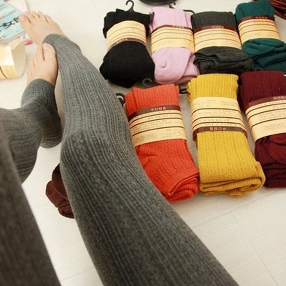 Warm Leggings Women's Winter Warm Skinny Slim Leggings Stretch Knitted