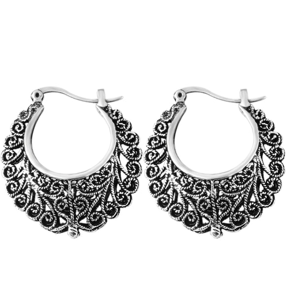 New Sale Fashion Trendy Drop Earrings Retro Bohemia Flower Hollow Silver Color