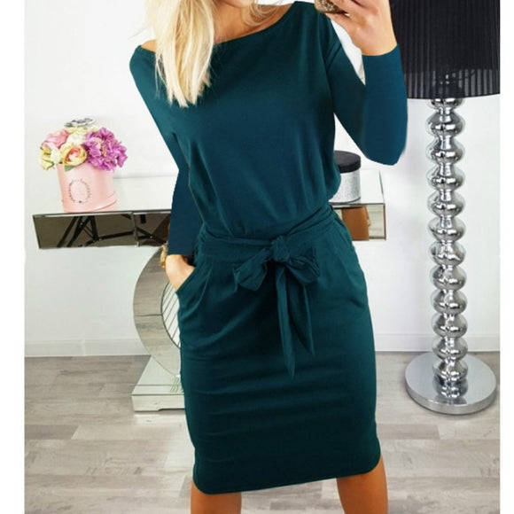 Autumn Sleeve Knitting Dress Women Fashion Pocket Sashes Pencil Dress Long Sleeve Casual