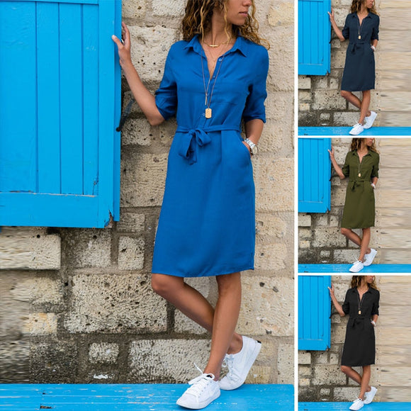 Autumn Winter Three Quarter Shirt Dress Fashion Turn-Down Collar Casual Loose Dress