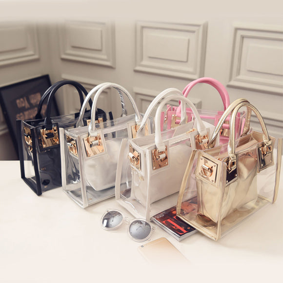New Fashion Women Clear Transparent Shoulder Bag Jelly Candy Summer Beach Handbag