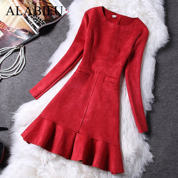 Winter Dress Women Casual Long Sleeve Pockets A-Line Sexy Elegant Slim Evening Party Dress