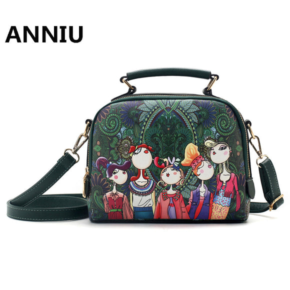 Women handbag high quality Cartoon Printing female shoulder crossbody bag