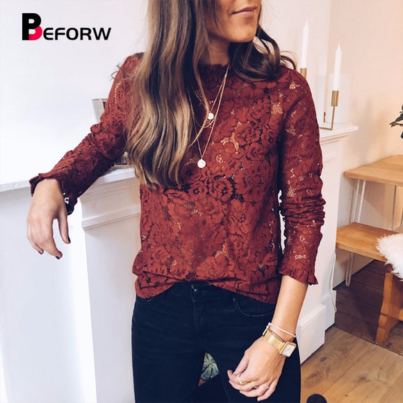 Women Lace Hollow Out Perspective Blouse Shirt Elegant Flare Sleeve Casual Floral Top