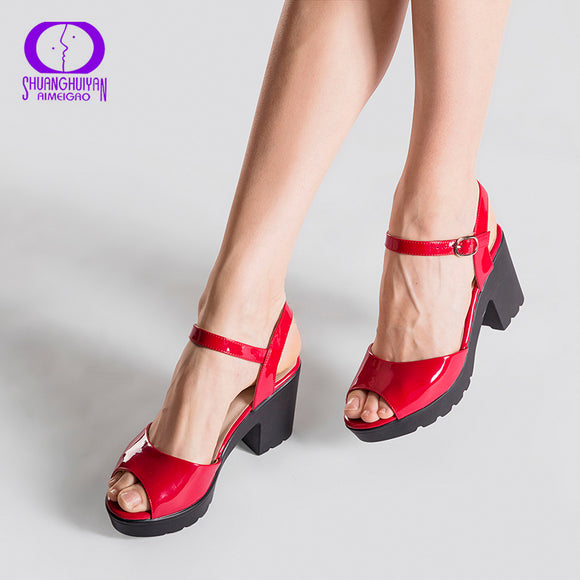 Summer Red Wedge Platform Women High Heels Sandals Buckle Strap Sandals Shoes