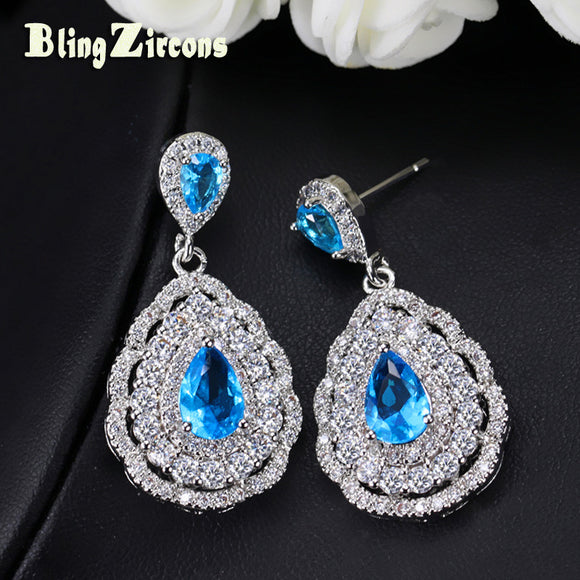 BlingZircons Royal Design Flower Shape Light Blue Cubic Zirconia Tear Drop Setting Silver Earrings