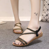 Plus Size Woman Shoes Fashion Bohemian Twist Woven Toe Sandwich Flat Sandals