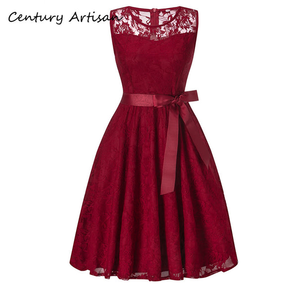 Autumn Winter Dress Women Elegant Hollow Out Lace Dress Casual Sleeveless Ball Gown