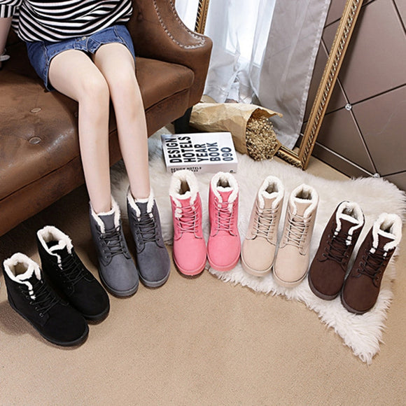 Classic Women Snow Boots Super Warm Winter Boots Suede Lace-up Female Ankle Boots