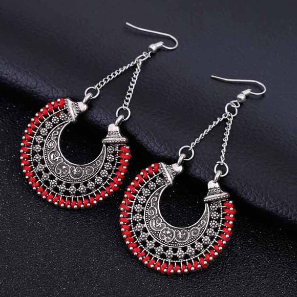 Fashion Boho Long Drop Earrings Jewelry Vintage Silver Earrings Power Bohemian