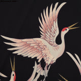 Fashion Cartoon chinese Style Red-crowned Crane print black Dress Short Sleeve