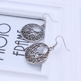 Fashion Bohemian Vintage Ethnic Tibetan Silver Long Hollow Round Drop Earring Carved Flowers