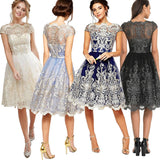 Summer Dress Sexy Elegant Hollow Out Embroidery Lace Dress Female Casual Slim Party Dress