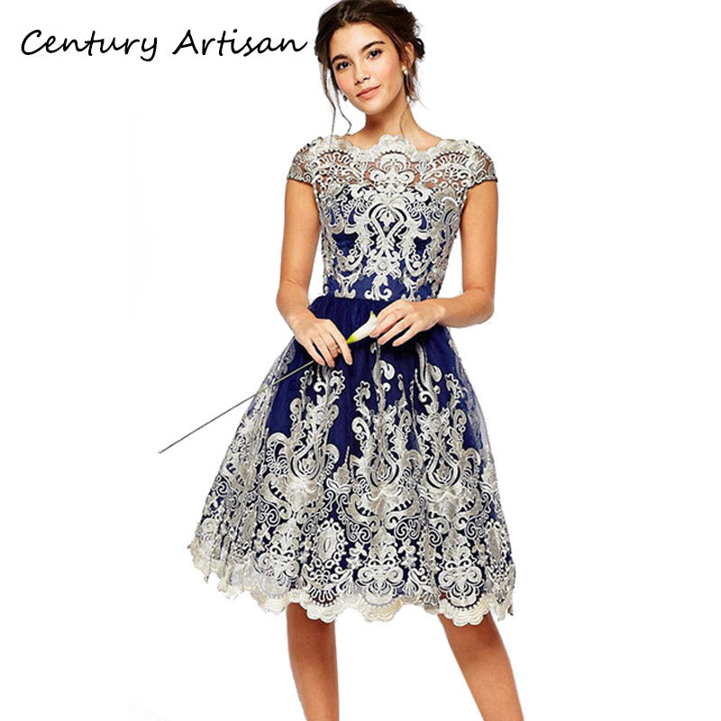 eed483c37c8e3 Summer Dress Sexy Elegant Hollow Out Embroidery Lace Dress Female Casual  Slim Party Dress