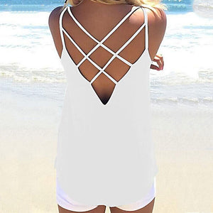 High Quality Women Summer Colors Sleeveless Spaghetti Strap Hollow Out Top
