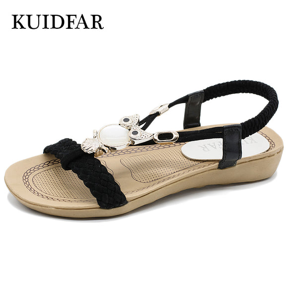 Fashion Women Sandals Summer Gladiator Shoes Ladies Bohemian Beach Shoes Flat Sandals