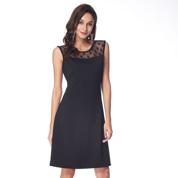 Back Dots Splicing Lace Dress Women Black Party and Office Knee-Length Sleeveless Dress