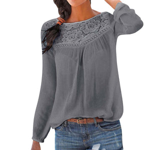 Lace Patchwork Shirt Casual Long sleeve Blouse Solid Color Large size