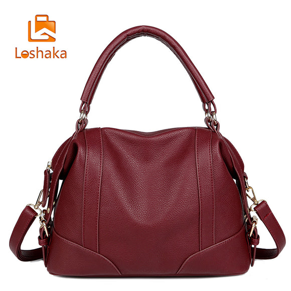 Women Fashion Soft Leather Handbag male Casual Solid Boston Shoulder Bag