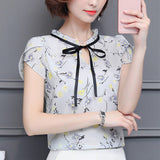 New Floral Chiffon Blouses Women Summer Tops And Shirts Bow Sweet Blouse